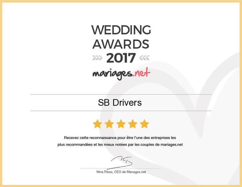 SB-Drivers distingué du Wedding Awards 2017